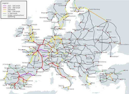 La carte quasi actuelle du réseau LGV en Europe
